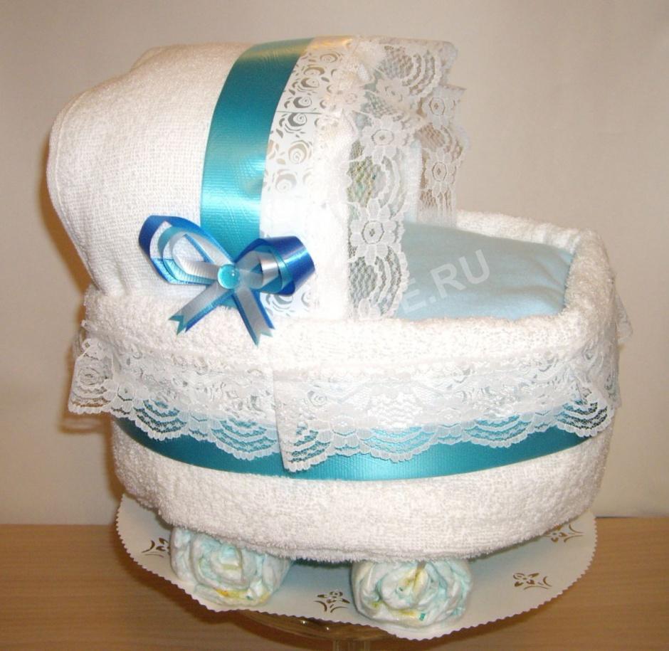 Коляска торт из памперсов