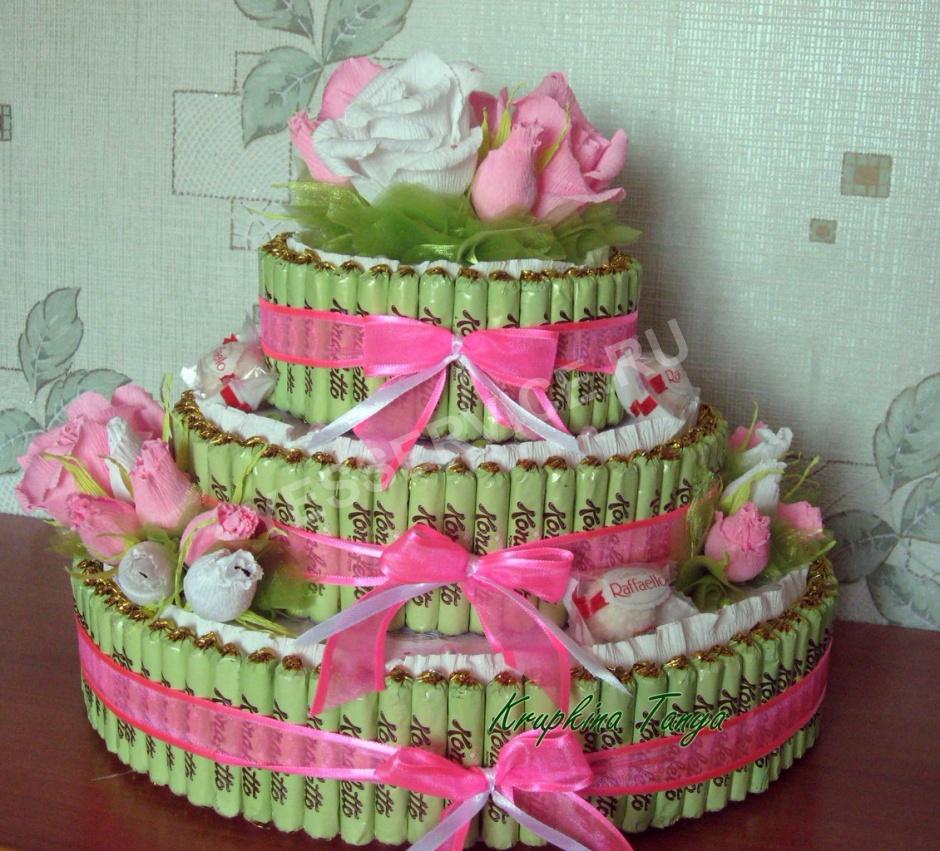 Как сделать торт из конфет своими руками